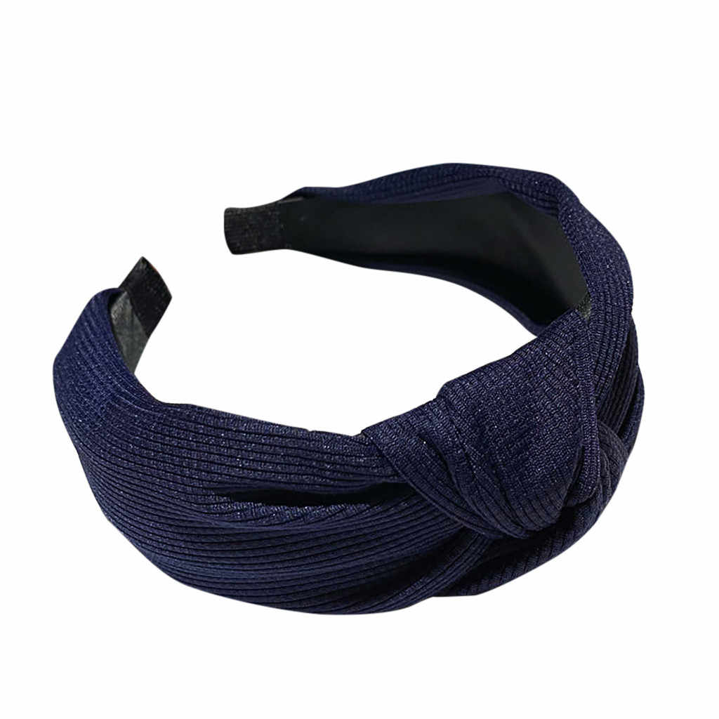 Women's fluorescent knotted headband solid color fabric headband Female Elastic Hair Bands Elegant hair accessories headdress