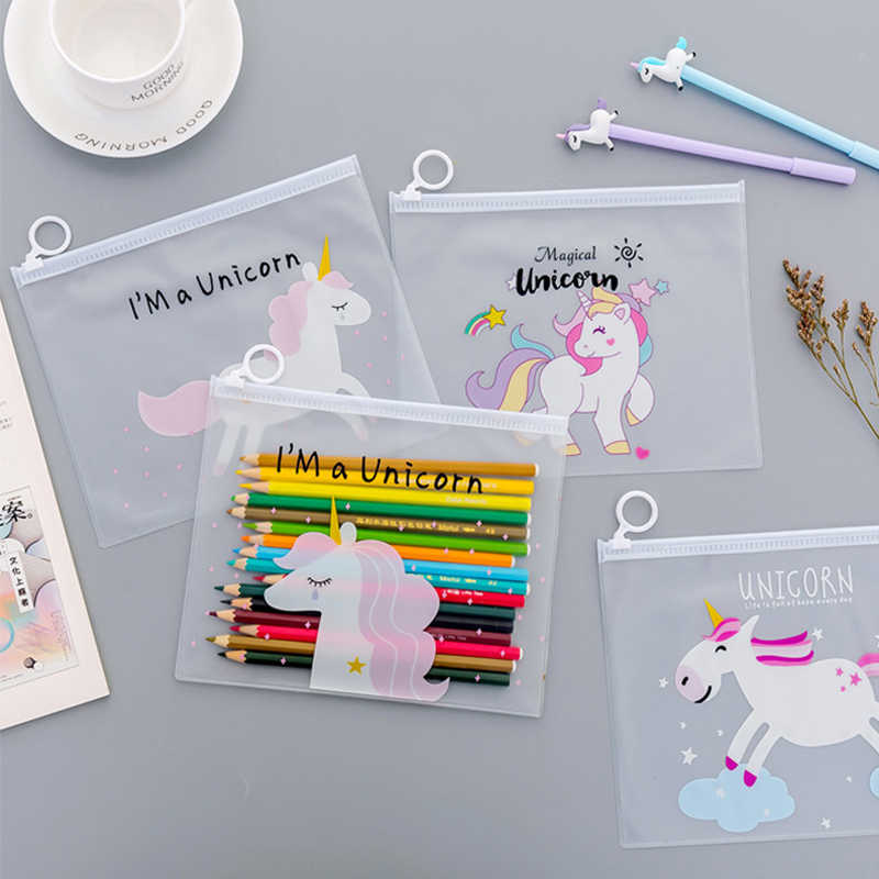 Clear Unicorn pencil case Cute PVC Pink leopard Cactus pen bag Mesh bags Stationery pouch gift school supplies canetas Zakka