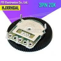 5 uds doble engranaje de ajuste potenciómetro B203 20K 3pin 16*2mm potenciómetro de esfera