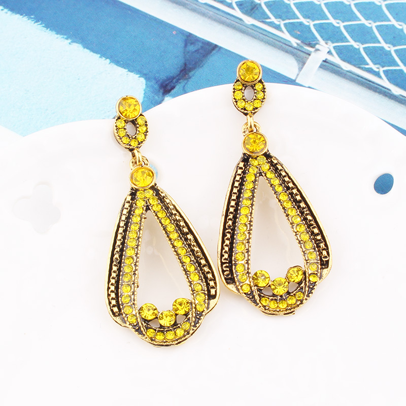 H68f28b65e341446388105dc902258475T - LUBOV Exaggerated Blue Crystal Lace Golden Metal Chain Dangle Earrings Women Personality Statement Drop Earrings Christmas Gift