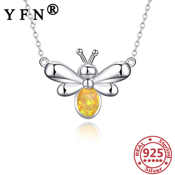 YFN 925 Sterling Silver Bee Pendant Necklaces Created Opal Pendant Necklace Mom's Gift Mother's Day Gift 925 Silver Chains Woman