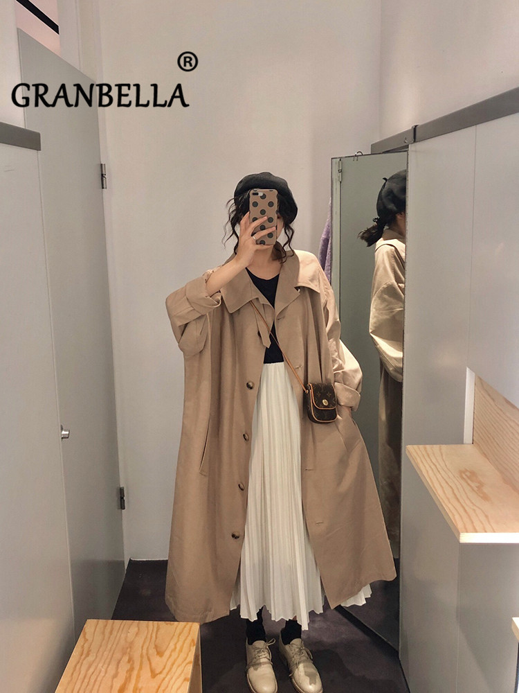 NP 2019 Fashion Korean College Style Knee-Crossing   Trench   Coat Chic Turn-Down Collar Single Breasted Cute Female Clothing Warm