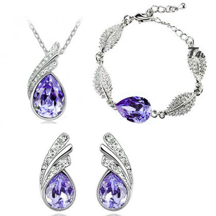 Best Selling Fine Jewelry Crystal Light Purple 925 Sterling Silver Women's Wedding Necklace Bracelet Earrings Set Gift S0133
