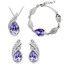 Melhor venda de jóias finas cristal luz roxo 925 prata esterlina feminino colar de casamento pulseira brincos conjunto presente s0133