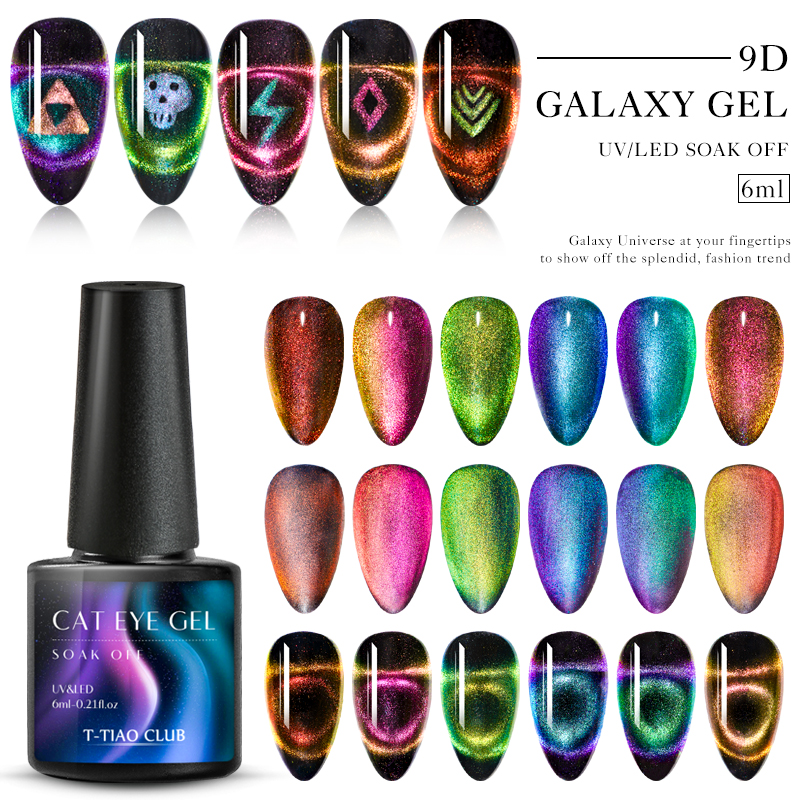 9D Гель-лак для ногтей с эффектом «кошачий глаз» лак Хамелеон звёздный Небесный Сияющий Магнитный Гель-лак для ногтей Магнитный замачиваемый УФ-гель лак черная основа