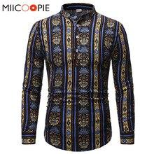 National Style Linen Camisa Masculina Royal Floral Stripe Print Men Shirt Dress Mandarin Collar Long Sleeve Ropa Hombre De Marca