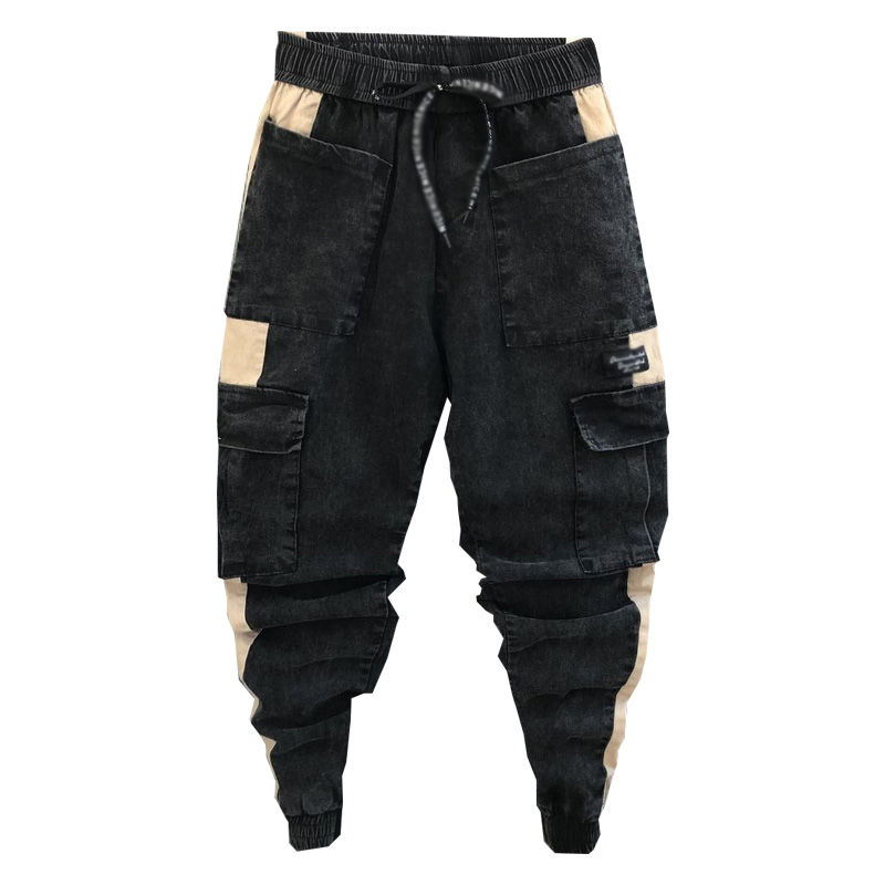 Idopy Men`s Denim Joggers Cargo Pockets Street Style Elastic Waist Drawstring Ankle Cuffed Patchwork Jeans For Male