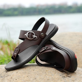 High Quality Summer Sandals Men Shoes Genuine Leather Antiskid Beach Shoes Male Luxury Brand Slippers Fashion Outdoor Flip Flops summer men shoes black men half slippers high quality men leather casual shoes loafers flip flops lightweight flats sandals