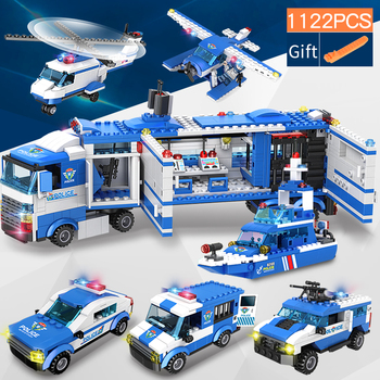 цена на 1122 pcs City Police Station SWAT Building Blocks Car Helicopter City House Truck Blocks Creative Bricks Toys For Children Boys