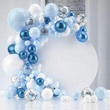 Синий металлик воздушные шары гирлянда арочный комплект Серебро Конфетти воздушные шары для Baby Shower или для вечеринки по случаю Дня Рождения украшения большая арка для воздушных шаров, Anniverssaire