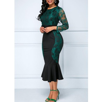 Autumn Winter Dress Women 2019 Casual Plus Size Slim Office Bodycon Dresses Vintage Elegant Sexy Lace Long Mermaid Party Dress 2