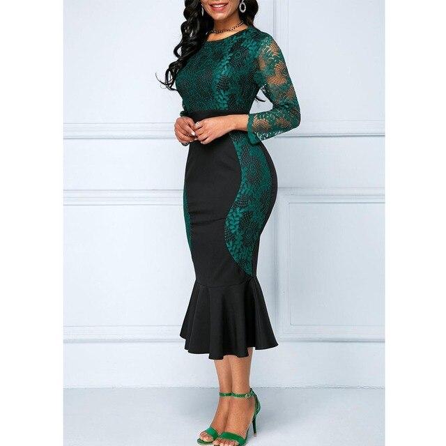 Autumn Winter Dress Women 2019 Casual Plus Size Slim Office Bodycon Dresses Vintage Elegant Sexy Lace Long Mermaid Party Dress 2