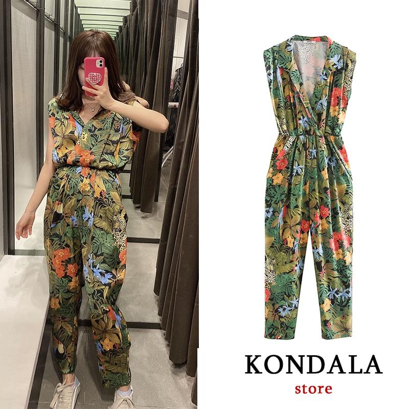 Bodysuit Women Za 2020 Floral Print Vintage Beach Jumpsuit V Neck Short Sleeve Elegant Rompers Womens Jumpsuit