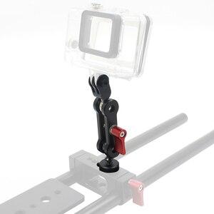 Image 2 - 듀얼 볼 헤드 매직 암 마운트 어댑터 1/4 나사 범용 스포츠 카메라 브래킷 360 회전 Gopro 액션 카메라