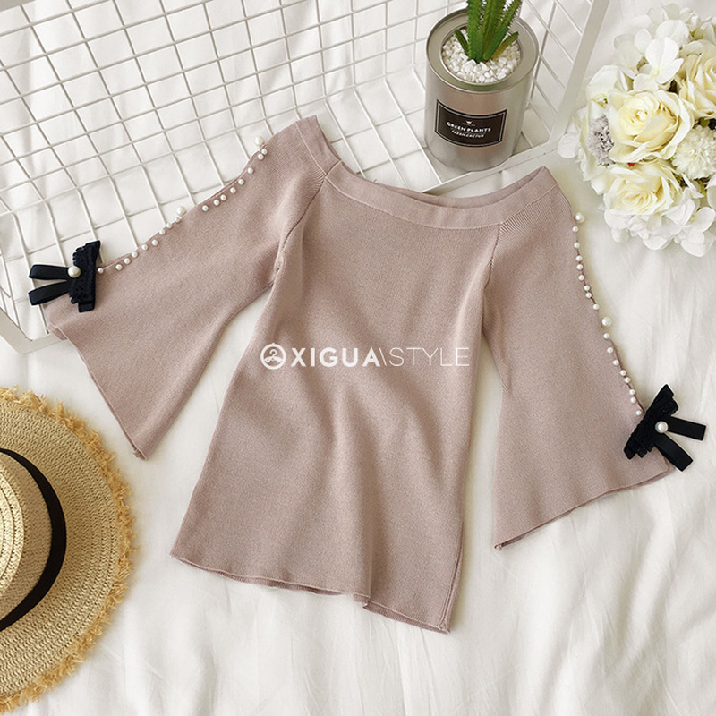 Lucyever Knitted Women Blouse Fashion Bow Autumn Half Sleeve Korean Sexy Off Shoulder Shirts Casual O Neck Elegant Slim Top 2021 Women Women's Blouses Women's Clothings