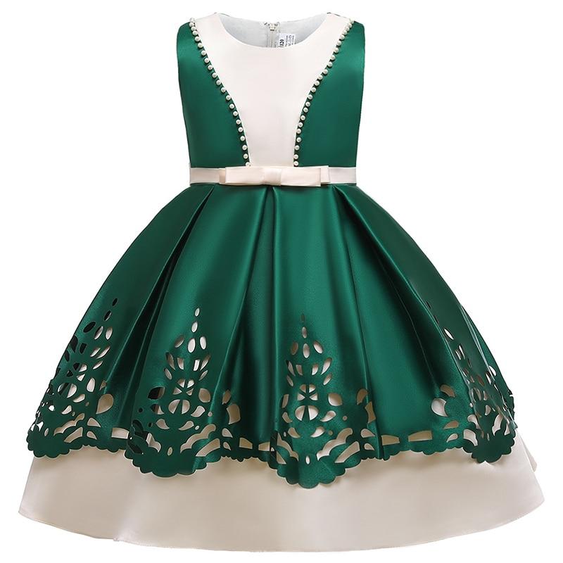 Christmas Girls Wedding Dress Summer 3-10 Yrs Girl Evening Party Dresses Satin Printing Teenage Children Princess Dress