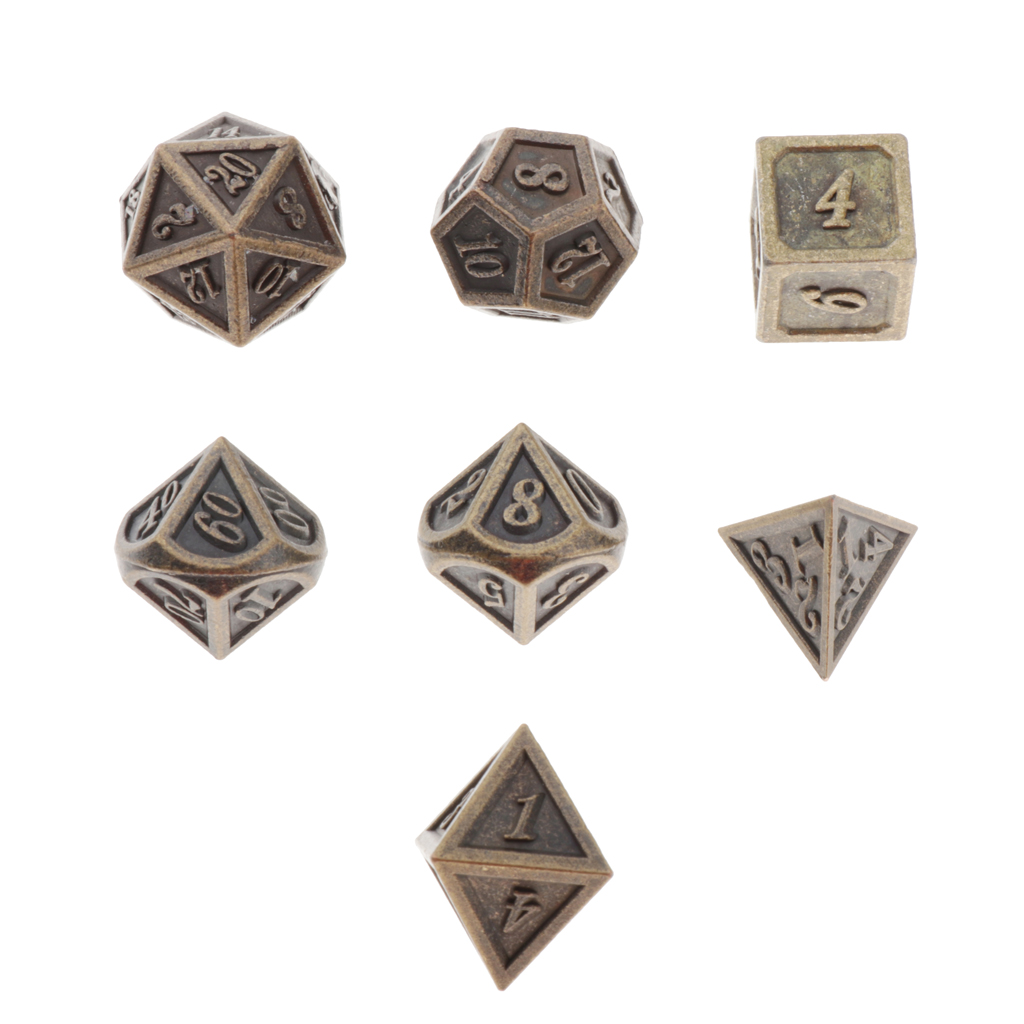 7 шт., долговечные металлические зеркальные игральные кости