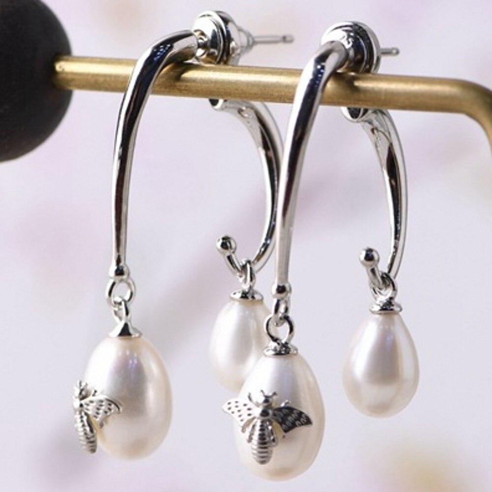 2020 new real S925 pure silver jewelry vintage earrings for women Fashion Water Drop Freshwater Pearl Silver Woman Stud Earrings