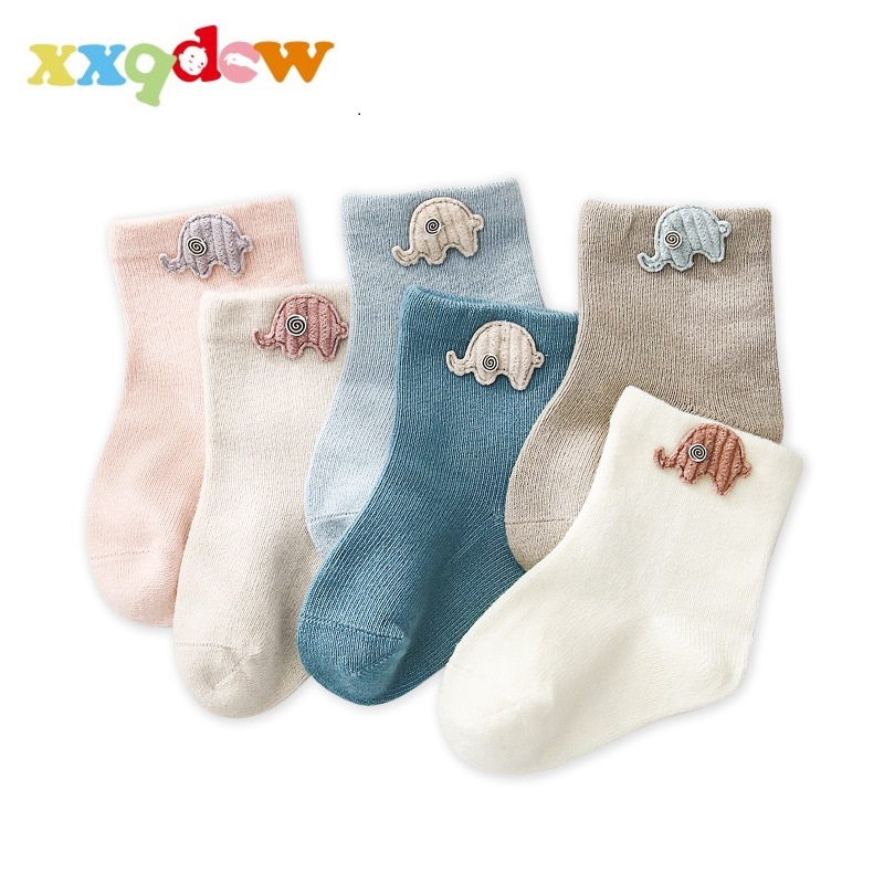 AiKway 3 Pairs/Lot Baby Socks Boy Girl Children Socks Cute Cartoon Decorative Solid Color Newborn Socks Boneless Suture Socks