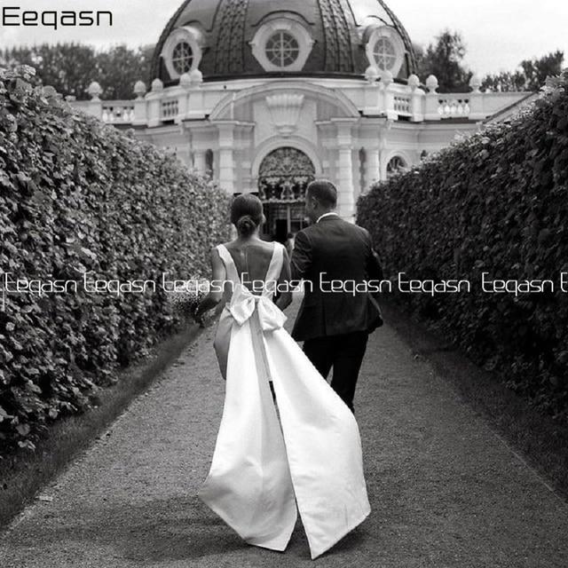 Simple Short Wedding Dresses 2021 Satin V Neck Bride Dress Big Bow on Back White Vestido De Novia Plus Size 5