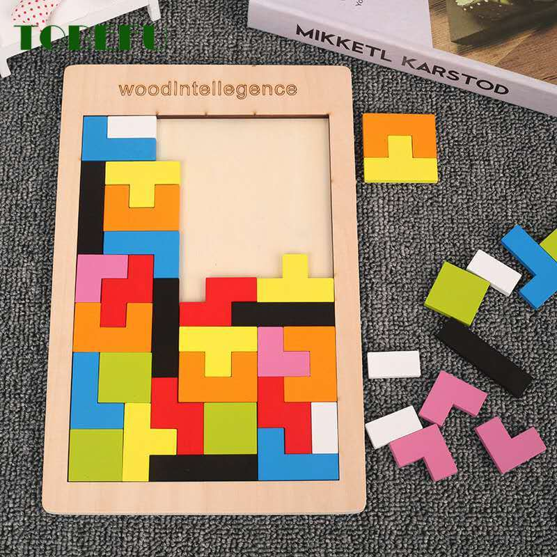 TOBEFU Puzzles Magic Tangram Children Wooden Educational Game Hobby Jigsaw Tetris Cubes Puzzles Kids Toy Children Boys Girls