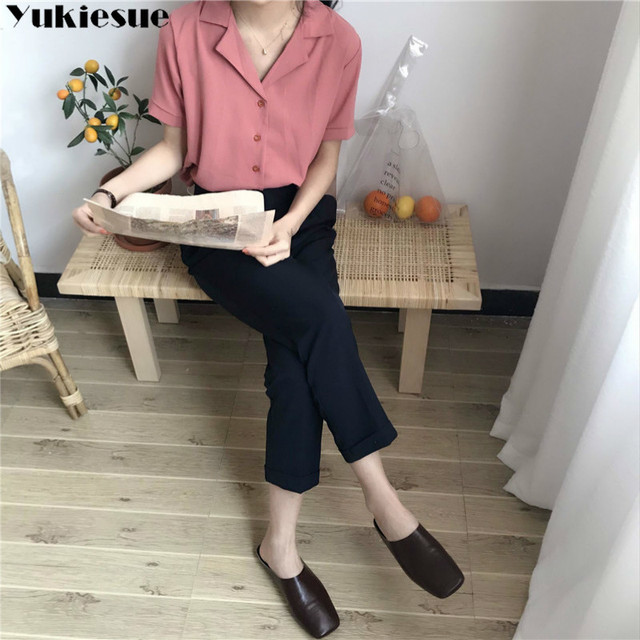 Casual Solid Female Shirts Outwear Tops 2020 summer short sleeve  Women Chiffon Blouse Office Lady V-neck Button Loose Clothing 4