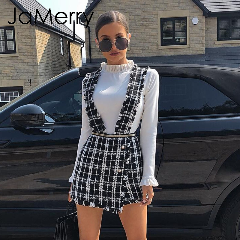 JaMerry Vintage Tweed Plaid Women Short Vest Skirt Autumn Winter Casual Highstreet Party Skirt Spaghetti Strap Female Mini Skirt