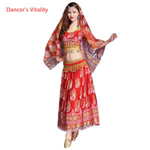 Image 1 - 5 Pcs Belly Dance Costume Bellydance performance Gypsy Indian Dress Dancewear Belly Dance Bollywood Dance Costumes