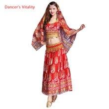 5 Pcs desempenho Traje de Dança Do Ventre Dança Do Ventre Cigana Indiano Vestido Dancewear Dança Do Ventre Trajes de Dança de Bollywood