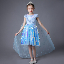 Girls Sequins Lace Elsa Dress Kids Summer Costume Children Snow Queen Elza Carnival Birthday Party Cinderella Clothes Disguise elsa dress for girls summer princess costume kids cosplay snow queen 2 elza clothes children birthday carnival party disguise