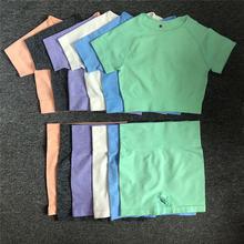 2 шт/компл женские шорты с коротким рукавом и высокой талией