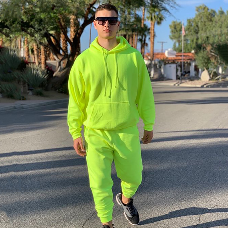 OMSJ 2019 Fashion Neon Style Mens Sets Fluorescence Green Hooded Sweatshirt+Sweatpants Two Piece Autumn Winter Casual Tracksuit