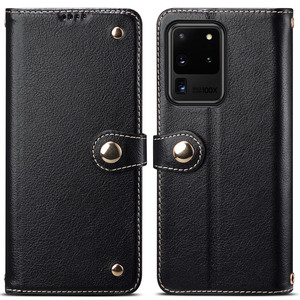 Image 1 - Metal Buckle Button Genuine Real cow Leather Flip Case For Samsung Galaxy S20 Ultra Book Wallet For S20 Plus