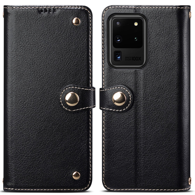 Metal Buckle Button Genuine Real cow Leather Flip Case For Samsung Galaxy S20 Ultra Book Wallet For S20 Plus