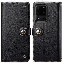 金属バックルボタン本物の牛の革フリップケース三星銀河 S20 ウルトラブック財布 S20 プラス
