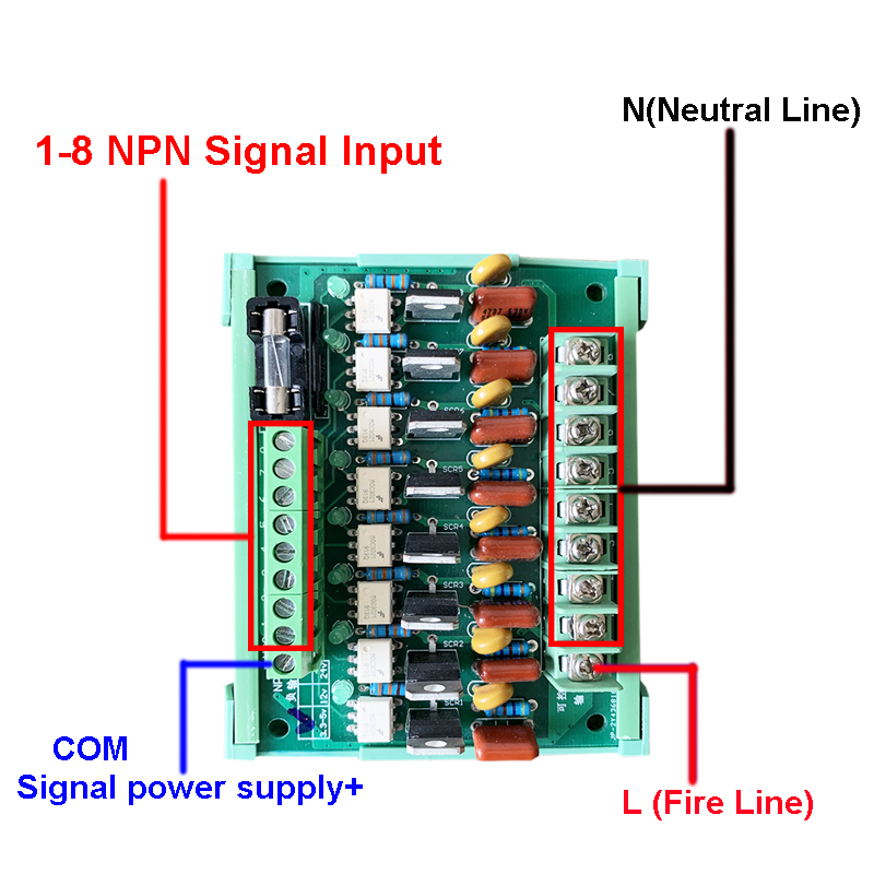 8-Channel NPN Input PLC AC Amplifier Board Thyristor Optocoupler Isolation Contactless Solid State Relay Module Output AC 220V
