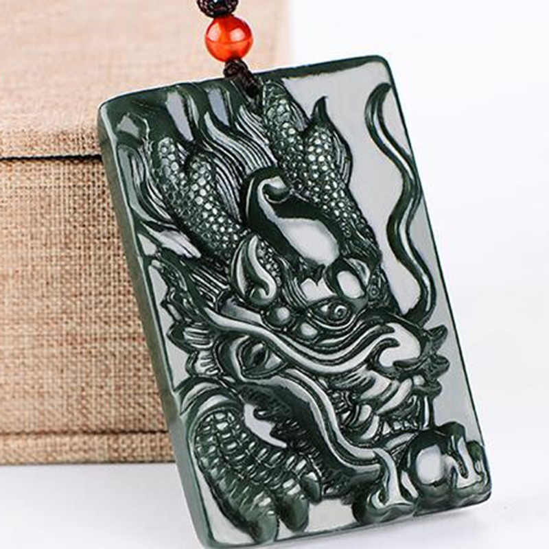 الطبيعي Hetian Qingyu صنبور قلادة قلادة مجوهرات غرامة مجوهرات زودياك التنين اليشم بطاقة قلادة قلادة مجوهرات
