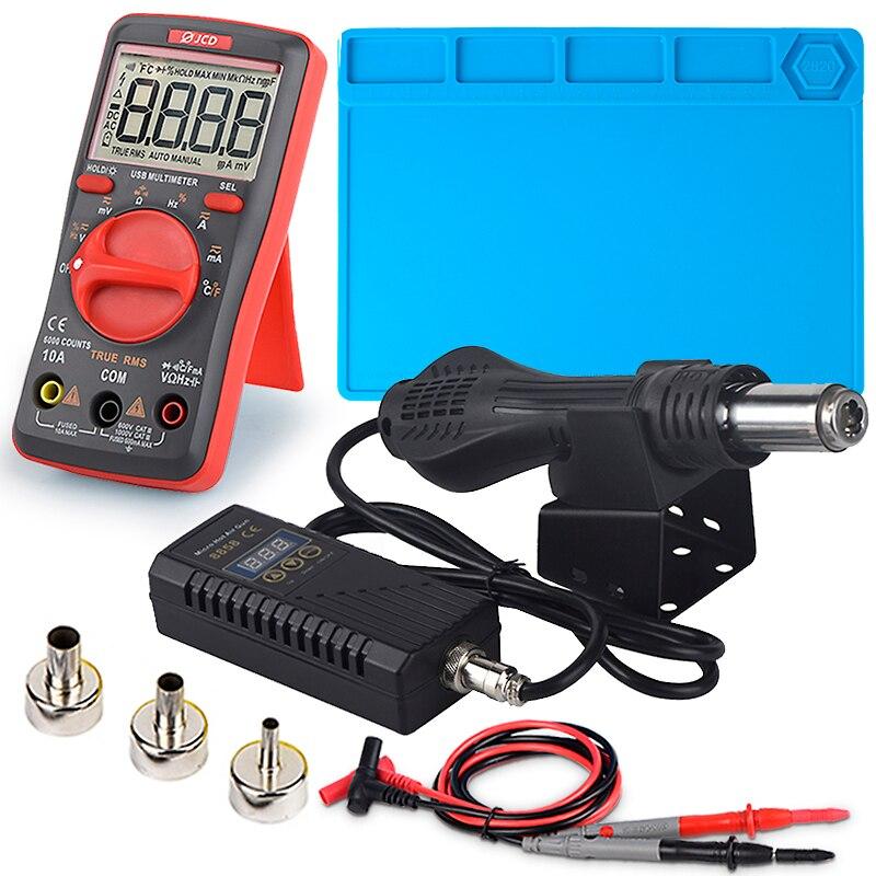 JCD Hot Air Gun with Digital Meter LCD Digital Micro Rework Soldering Station 750W 220V Heat Gun Welding Repair Tool Working Mat