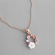 Fashion Creative Butterfly Flowers Necklace Zircon Crystal Pearl Shell Garland Pendant Necklace for Women Jewelry Accessories cheap Aphseem Copper Pendant Necklaces Cute Romantic Link Chain Metal ROUND All Compatible Wedding Other 15mm X159 45cm