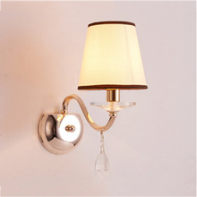 American Led European Wall Light Simple Fabric Retro Bedroom Bedside Living Room Background Hotel Lamp