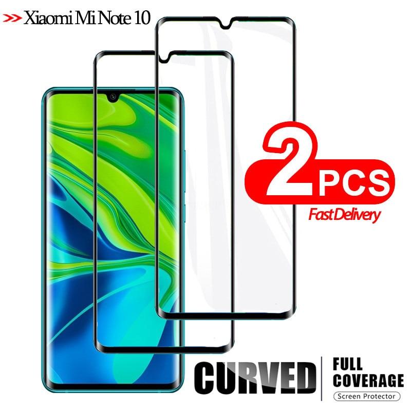 2Pcs Full Cover Tempered Glass For Xiaomi Mi-Note-10 CC9 Pro Screen Protector Mi Note 10 Protective Glass Film Note10 Xiaomi