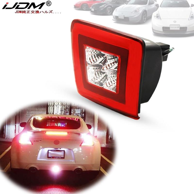 IJDM Bumper Fog Light Kit For 2009-2019 Nissan 370Z & 2013-17 Juke Nismo, Red Brake/Rear Fog & White LED As Backup Reverse Lamp