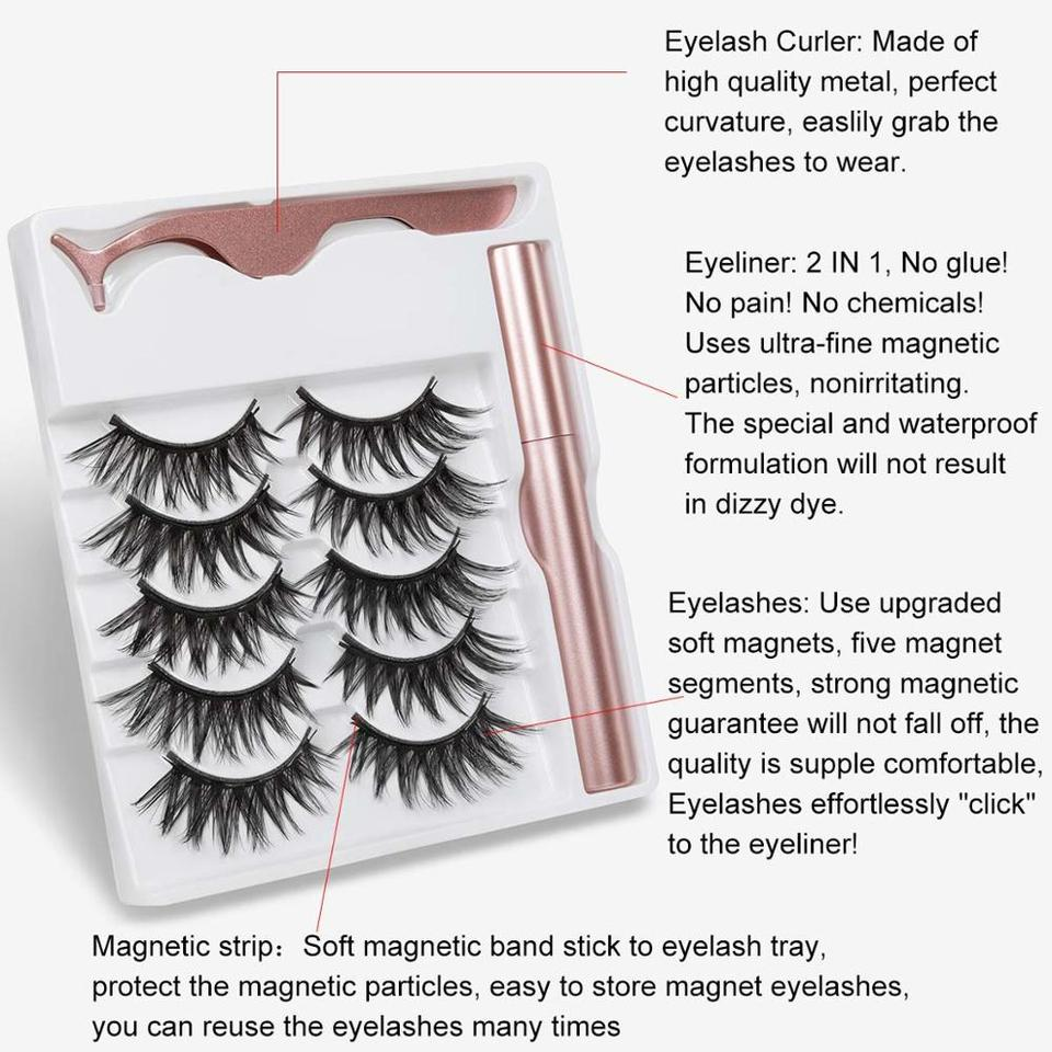 2020 NEW 5 Pairs Magnetic Eyelashes & Magnetic Eyeliner Set Updated 5 Magnet  False Eyelashes Natural Makeup Eyelash ...