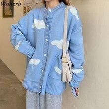 Woherb – Cardigan japonais Harajuku pour femmes, imprimé nuage coréen, ample, bleu, assorti à tout, pull tricoté