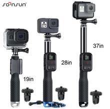 SOONSUN Ausziehbare Wasserdicht Einbeinstativ Pole Selfie Stick + Wifi Remote Clip + Stativ Adapter Halterung für GoPro Hero 9 8 7 6 5 4 3 2
