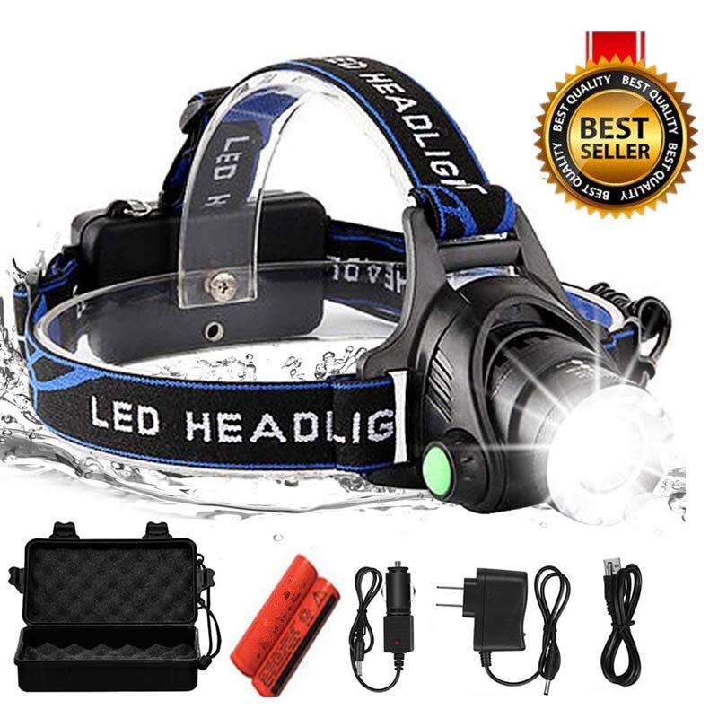 Светодиодный налобный фонарь 10000lum, светодиодный налобный фонарь T6 с увеличением, налобный фонарь, налобный фонарь, 2*18650 батареи для