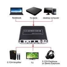 Decodificador de Audio Digital DTS AC3 óptico a estéreo Surround 5,1 para reproductores HD/DVD/XBOX360 KEBIDU 2,1