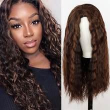 Длинные женские парики Омбре коричневые плюс золотые парики термостойкие части синтетические волнистые двухцветные натуральные парики ср...