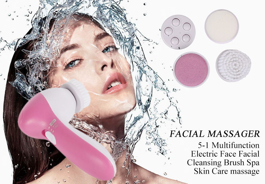 1 Set 5 In 1 Multifunction Electric Face Facial Cleansing Brush Spa Mini Skin Care Massage Brush Face Care Tool Drop Shipping