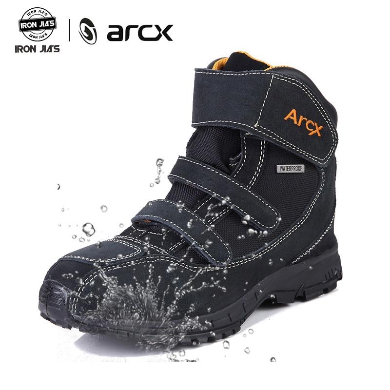 ARCX bottes de Moto en cuir de vache véritable respirant rue Moto bottes de course Moto chaussures de Protection imperméables durables